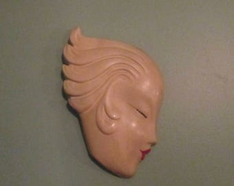 Fabulous Art Deco Lady Head Wall Mask / 1940s Chalkware Face Placque