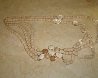 vintage necklace wood glass beads shell goldtone