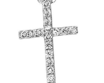 Diamond Cross Pendant White Gold 1/10CT Diamond White Gold Cross Pendant