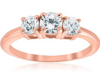 Rose Gold 3 Stone Diamond Engagement Ring 1 Carat 14k Rose Gold Round Brilliant Cut Three Stone Real Diamond Solitaire Jewelry