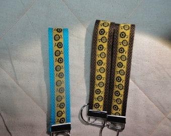 Sunflowers Jacquard Woven Print Ribbon Key Fobs