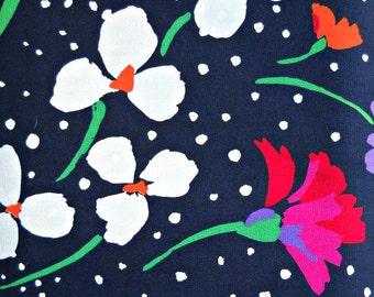 Snowy Night Flower Fabric, Polyester/Cotton Blend, 1 yard cut