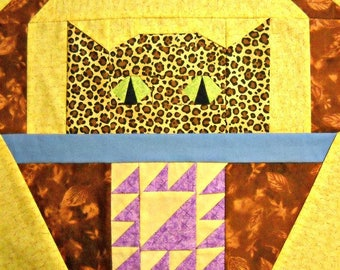 Cat Paper Pieced Quilt Block Pattern - Lady of the Lake