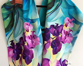 Poetry on Turquoise - Faille Scarf / Shawl / Hijab / Handmade Fashion Accessory / Flowers / Orchids