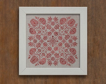 PDF Spring Blossoms cross stitch patterns by Modern Folk at thecottageneedle.com monochromatic Spring