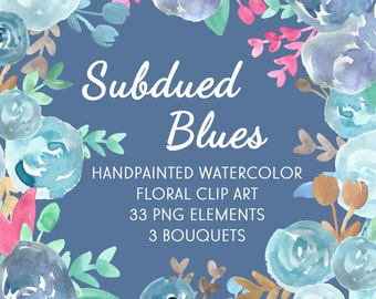 Subdued Blues Abstract Watercolor Flowers Floral Clip Art Digital Handpainted Roses Blooms PNG Wedding Invitation Small Commercial Use OK
