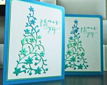 Handmade Christmas Cards Set of 2, Holiday Cards Set, Ombre Christmas Tree Cards, Peace Cards
