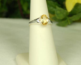 Citrine Ring, Size 8, Rich Gold, Bright Sparkle, Sterling Silver, November Birthstone, Natural Citrine, Golden Citrine, Oval Citrine