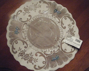 """Ecru Doily Heritage Lace Vintage 14"""" round //Teatime Pattern Blue and Yellow Flowers"""