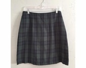 90s Navy and Hunter Green Plaid High Wasited Skirt