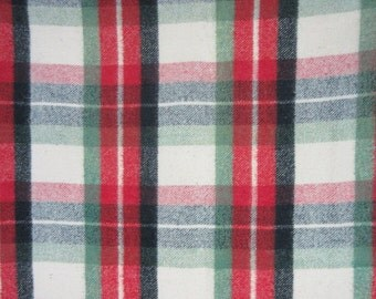 Vintage Throw Cotton Wool Blend Plaid Rustic Cabin Primitive  Decor Spruce Green Red Black
