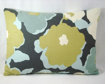 Robert Allen Lumbar Top Floral Charcoal Pillow Accent Lumbar Pillow 13x18 Cover Only