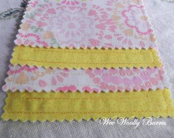Pink Coral Mint Mandala Fabric Coasters/Mug Rugs