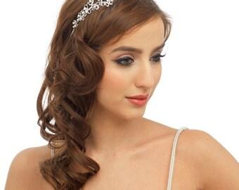 bridal hair accessory, side tiara, large headband, crystal headpiece, pearl hair jewellery, pearl side tiara, headband, headpiece, gift,