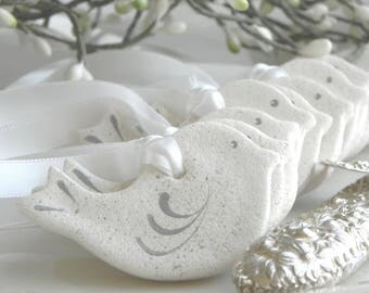 Set of 10 Mini 2 Inch Dove Salt Dough Ornaments Wholesale Wedding / Baptism / Baby or Bridal Shower Favor