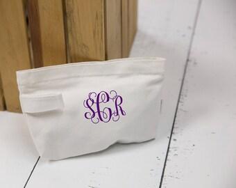 Bridesmaid gift idea, monogrammed makeup bag. Canvas zip bag for bridesmaid gift. Wedding party gift idea. Monogram bag for wedding day Gift