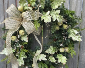 Christmas Wreath - Holday Wreath, Front Door Wreath - Winter Wreath - Winter Wonderland, Platinum and Green Christmas Wreath, Sparkle Wreath
