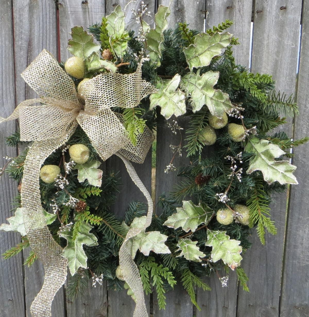 Christmas wreath holday wreath front door wreath winter for Front door xmas wreaths