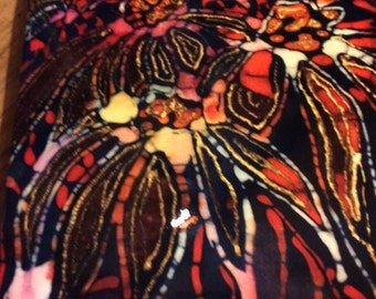 Coneflower Within  _Trivet   -  flowers  batik   -  Ceramic tile