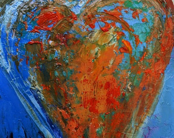 Guardian Angel #112516 - Original Oil PaintingAbstract  Modern Angel Art  by Claire McElveen Available Framed As Shown