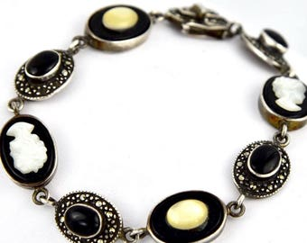 Vintage Cameo, Onyx, Mother of Pearl, Marcasite & Yellow Cat Eye Sterling Silver Tennis Bracelet