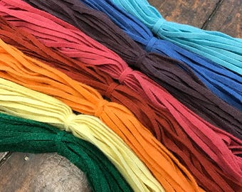 Rainbow Mix - 200 #6 Sized Hand Cut Wool Strips for Rug Hooking