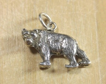 Sterling Silver Grizzly Bear Pendant