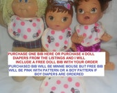 Purchase 1 doll bib OR FREE BIB with the purchase of 4 baby alive cloth doll diapers bitty baby baby alive get better bailey sips cuddles