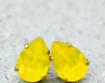 Yellow Opal Stud Earrings Yellow Bridesmaids Jewelry Swarovski Crystal Pear Drop Stud Earrings Clip ons Leverback Dangles Opal Jewelry Lemon