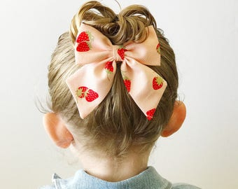 Oversized bow - strawberry summer bow - big bow clip - large sailor bow - girl's bow clip - fabric bow clip - strawberry bow - pink bow clip