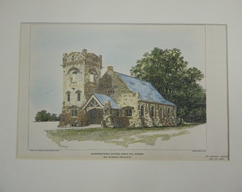 Congregational Church, Maple Hill, Kansas, 1903, Original Plan. Root & Siemens, Architects. Hand Colored, Original Plan. Architecture