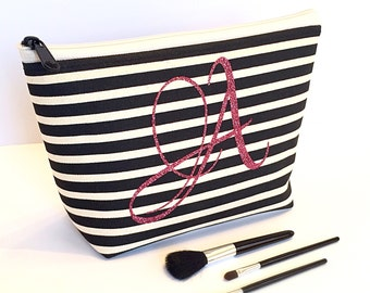 Monogram Cosmetic Bag ,  Black Creme Stripe , Hot Pink Glitter , Bridesmaid Maid of Honor Gift , Personalized Travel Makeup Accessory