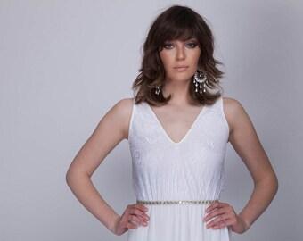 Bohemian lace top wedding dress , Barzelai wedding dress,lace wedding dress
