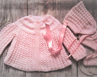 Newborn baby's infant girls traditional handknitted pink lacy lace matinee jacket and bonnet with booties pram outfit set