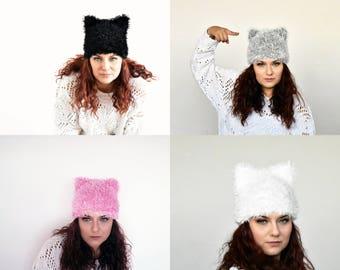 Pussy Cat hat beanie cat ear hat pussycat hat woman march hat with ears pussyhat animal cat hat pink pussyhat white black