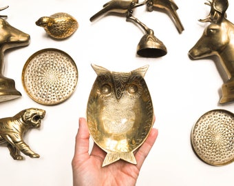 Vintage Detailed Brass Owl Dish