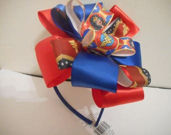 Wonder Woman four ribbons Headband multi color bow on blue headband