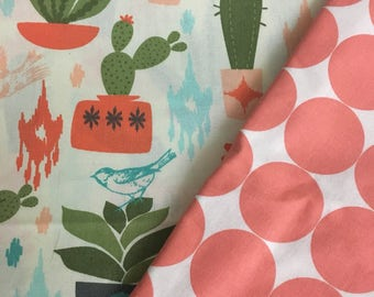 Cactus car seat canopy, carseat canopy cover, baby girl, coral, birds, desert, baby boy