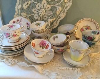Huge lot teacups saucers creamers mismatch perfect vintage wedding! 33 pcs so far!!!