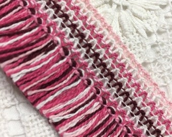 Vintage fringe Ribbon Embroidered colorful multicolored Pink