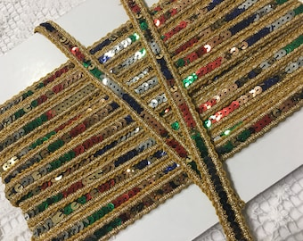 Gold and MULTI COLOR SEQUINS Ribbon