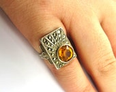 Art Deco Ring, Sterling Silver Ring, Vintage Marcasite Ring, Citrine Ring, Uncas, Yellow Stones, Glass Statement Ring  Size 5