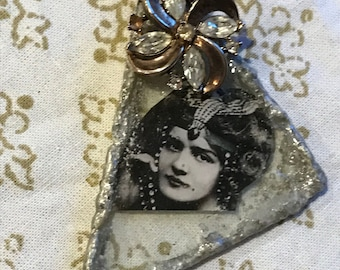 Custom made stained glass flapper girl pendent .Pyrite gemstone Necklace .24 Inches long. one of a kind .The barque princess