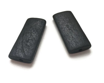 Large Black Wooden Beads, Wooden Rectangle Beads 10pcs W 70 046