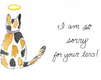 Cat Sympathy Card--Calico, Tabby/Ginger, Black Cat PERSONALIZED for FREE With Pet's Name Underneath the Cat...Original Watercolor Card