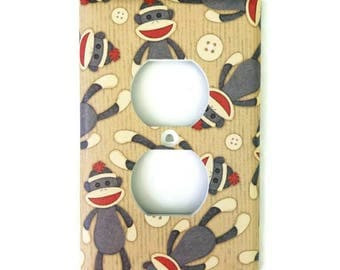 Sock Monkey Light Switch Cover, Outlet Cover, single or double