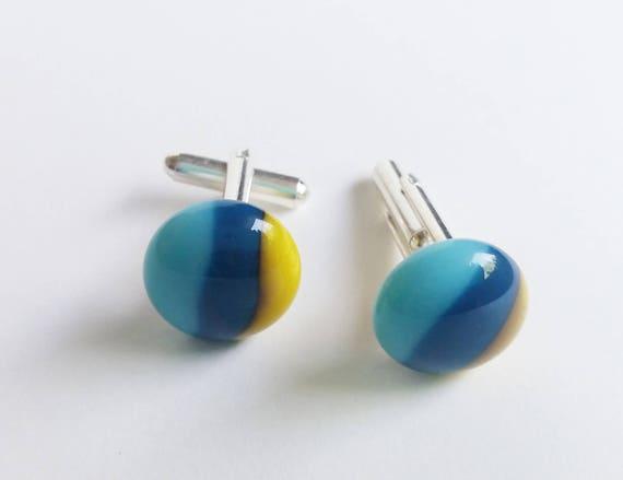 Blue and Yellow Glass Cufflinks