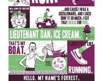 Forrest Gump Silkscreen Poster by Ian Glaubinger inspired by Tom Hanks Robert Zemeckis