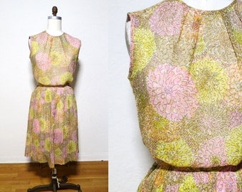 Vintage 1950s 1960s 2 piece sheer floral skirt blouse set. casual day dress small