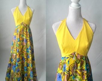 Vintage Maxi Dress, Yellow Vintage Dress, 1960s Yellow Dress, Floral Vintage Dress, 60s Maxi Dress, Retro 60s Gown, Vintage Hostess Dress